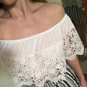 Lace off-shoulder top